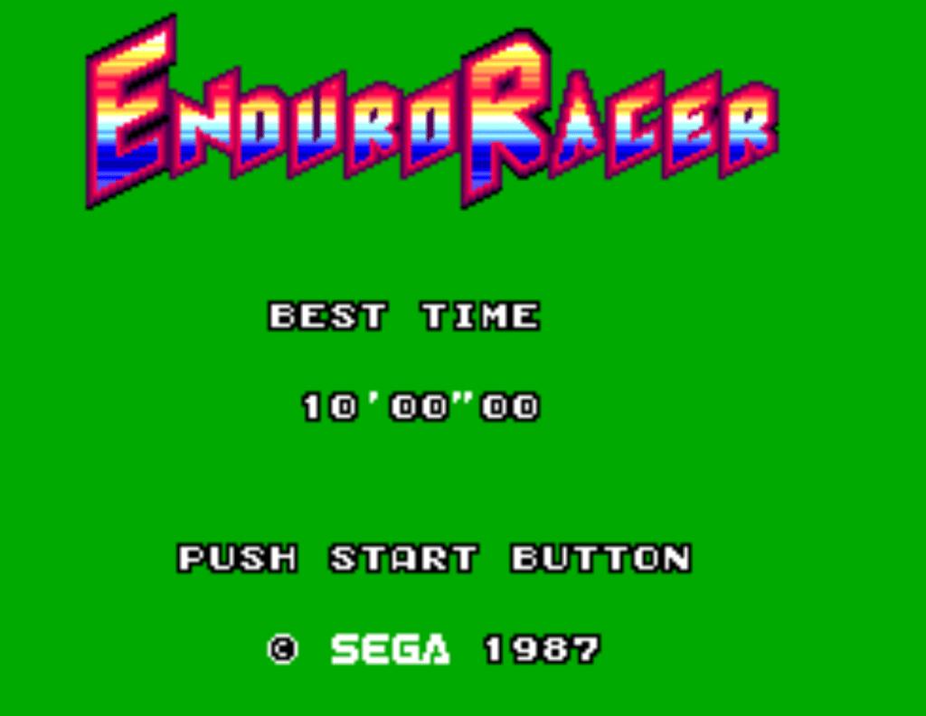 Enduro Racer Sega Master System Title Screen